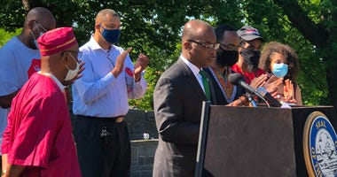 Buffalo Mayor Byron Brown is joined by Juneteenth committee members to announce June 19 as a city holiday. June 19, 2020 (WBEN Photo/Mike Baggerman)