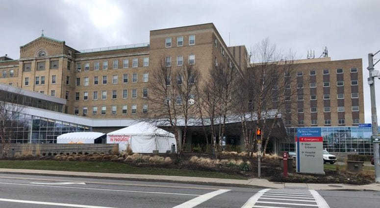 Triage tent set up outside of Mercy Hospital in Buffalo. March 27, 2020 (WBEN Photo/Mike Baggerman)