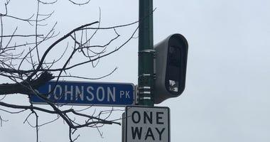 School speed zone camera outside Hutch Tech High School