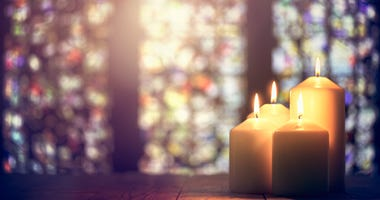 Church windows and candles
