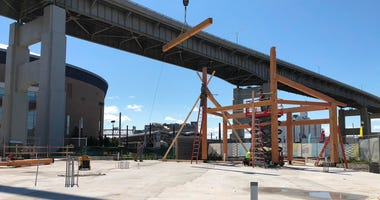 Canalside carousel under construction. August 5, 2020 (WBEN Photo/Mike Baggerman)