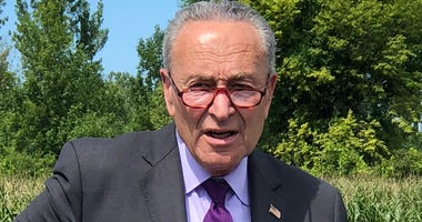 Senator Chuck Schumer in Basom, New York. July 31, 2020 (WBEN Photo/Mike Baggerman)