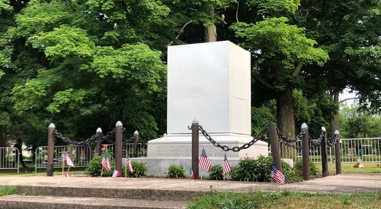 Columbus Park Removed Statue