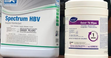 Cleaning supplies used by Buffalo Public Schools to combat coronavirus. March 6, 2020 (WBEN Photo/Mike Baggerman)