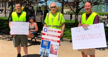 Protesters at Niagara Square want New York to reopen entirely. May 21, 2020 (WBEN Photo/Mike Baggerman)