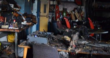 Remnants of a fire allegedly caused by Rickey Barnes at Niagara Falls High School (Photo via Niagara Falls Schools)