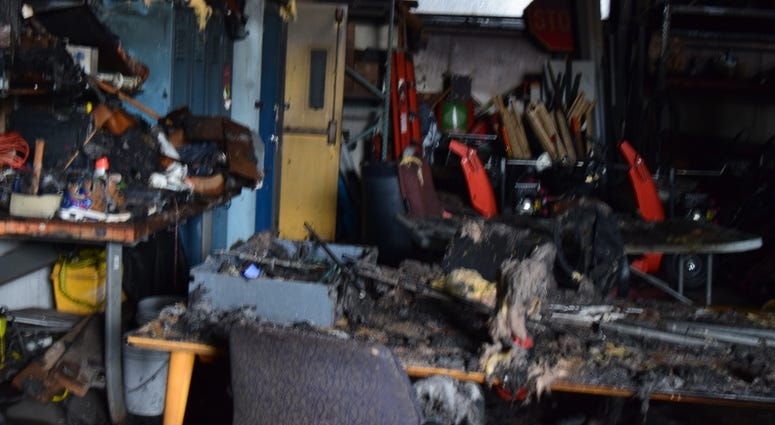 Remnants of a fire allegedly caused by Rickey Barnes at Niagara Falls High School (Photo via Niagara Falls Schools)