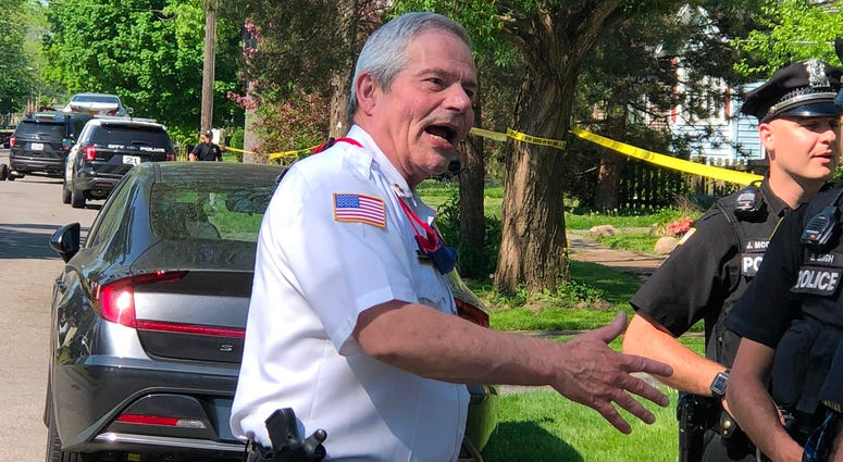Captain Fred Foels talks to officers at the scene of a shooting on Morgan Street. May 26, 2020 (WBEN Photo/Mike Baggerman)