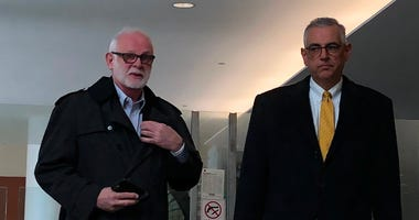 Clergy abuse survivor Gary Astridge (left) and Attorney Steve Boyd (right) after Diocese of Buffalo files for bankruptcy (WBEN Photo/Mike Baggerman)