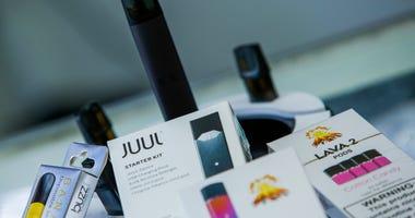 E-cigarettes devices are display in a local store