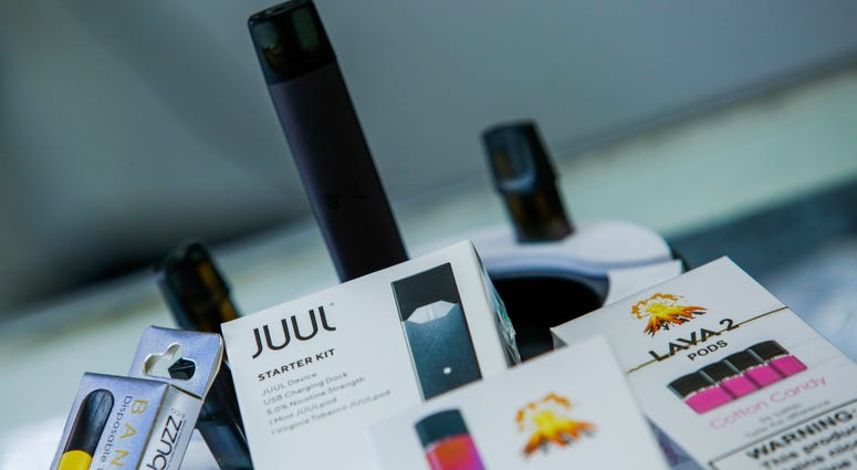 E-cigarettes devices are display in a local store
