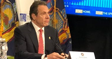 Governor Andrew Cuomo gives his daily coronavirus update at Roswell Park Comprehensive Cancer Center. April 21, 2020 WBEN Photo/Mike Baggerman