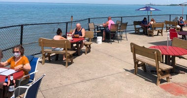 Social-distancing measures are in place for outdoor seating at Hoak's Restaurant. June 4, 2020 (WBEN Photo/Mike Baggerman)