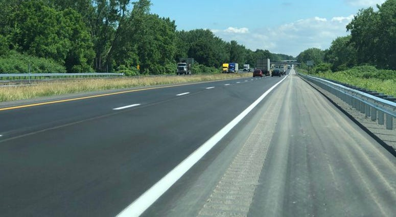 The newly finished construction project on I-90 in Seneca Nation in Cattaraugus County. June 30, 2020 (WBEN Photo/Mike Baggerman)
