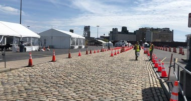NYS COVID-19 testing site in Buffalo's Cobblestone District. May 19, 2020 (WBEN Photo/Mike Baggerman)