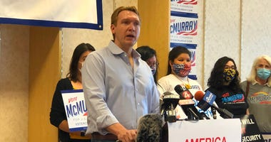 Nate McMurray declines to concede the NY-27 special election to Chris Jacobs. June 26, 2020 (WBEN Photo/Mike Baggerman)
