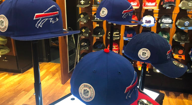 Official Bills Playoff Hat at New Era Cap store on Delaware Avenue. December 16, 2019 (WBEN Photo/Mike Baggerman)