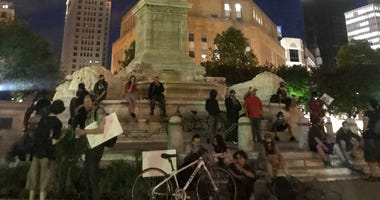 Protesters in Niagara Square, Buffalo, N.Y.