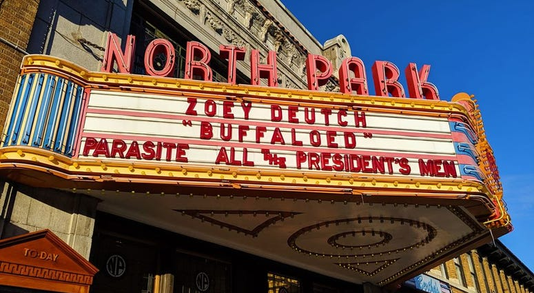 Marquee outside the North Park Theatre in North Buffalo