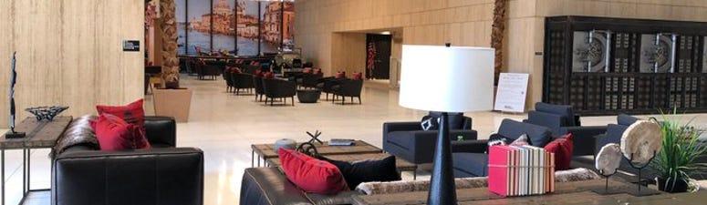Lobby of Seneca One Tower. July 8, 2020 (WBEN Photo/Mike Baggerman)