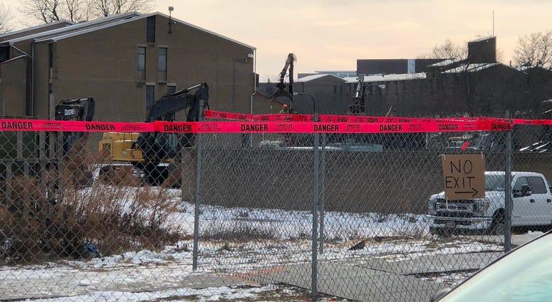 Demolition crews on Shoreline Apartments preparing for its demolition. January 22, 2020 (WBEN Photo/Mike Baggerman)