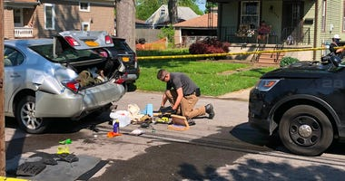The aftermath of a silver car rammed by a City of Tonawanda police cruiser on Morgan Street. May 26, 2020 (WBEN Photo/Mike Baggerman)
