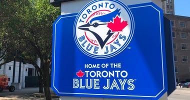 Toronto Blue Jays logo outside Sahlen Field in Buffalo. August 10, 2020 (WBEN Photo/Mike Baggerman)