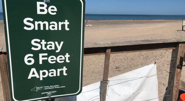 Social distancing guidelines at Woodlawn Beach State Park in Hamburg. May 22, 2020 (WBEN Photo/Mike Baggerman)