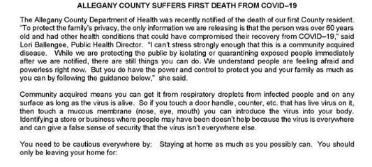 Allegany County release