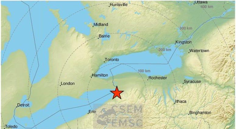 Hamburg earthquake map