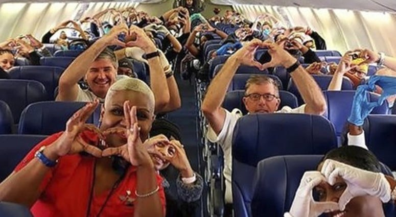 Health care workers on Southwest flight