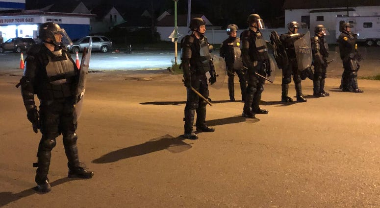 Police at Monday's protest on Bailey Ave.