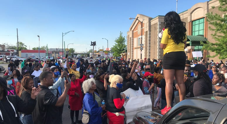 Protesters gather in front of Buffalo Police E District