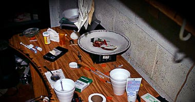 Drugs at one of the raids.