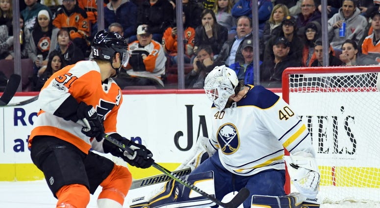 Dec 14, 2017; Philadelphia, PA, USA; Buffalo Sabres goalie Robin Lehner (40) makes a save against Philadelphia Flyers center Valtteri Filppula (51) during the second period at Wells Fargo Center.