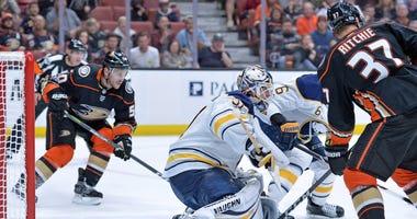 Oct 15, 2017; Anaheim, CA, USA; Buffalo Sabres goalie Chad Johnson (31) defends the net against the Anaheim Ducks during the third period at Honda Center.