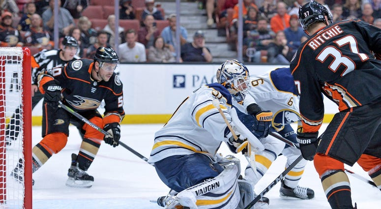 Oct 15, 2017; Anaheim, CA, USA; Buffalo Sabres goalie Chad Johnson (31) defends the net against the Anaheim Ducks during the third period at Honda Center.