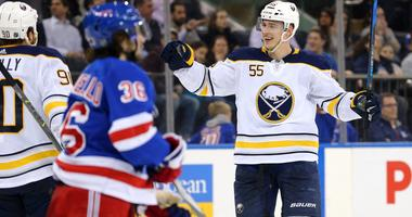 an 18, 2018; New York, NY, USA; Buffalo Sabres defenseman Rasmus Ristolainen (55) celebrates his goal against the New York Rangers during the third period at Madison Square Garden.