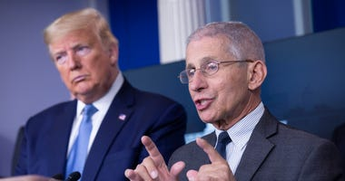 Director of the National Institute of Allergy and Infectious Diseases at the National Institutes of Health Dr. Anthony Fauci, joined by United States President Donald J. Trump