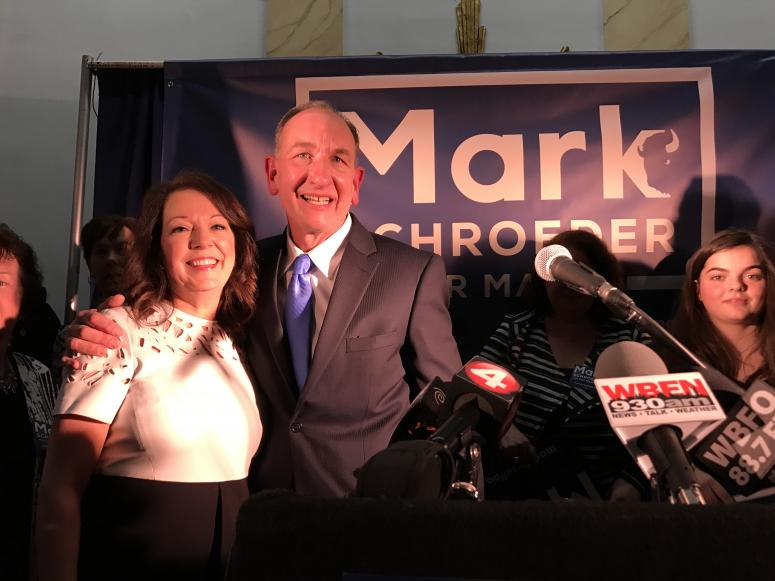 Mark Schroeder and his wife at campaign event