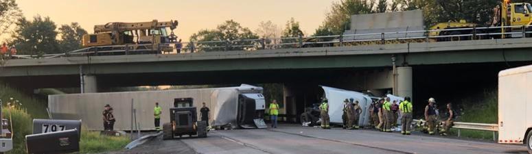 Tractor Trailer Rollover Crash on Thruway