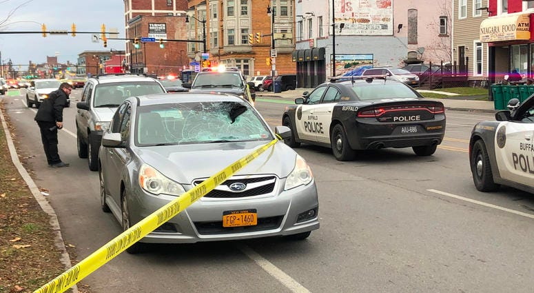 Pedestrian-involved accident on Niagara Street in Buffalo. November 27, 2019 (WBEN Photo/Brendan Keany)