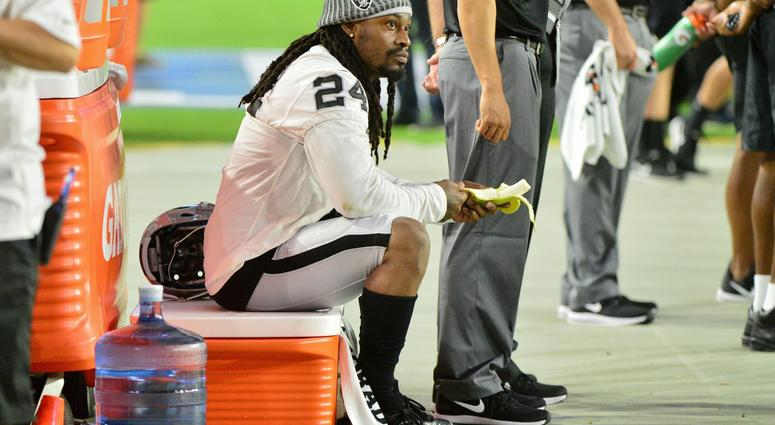 Aug 12, 2017; Glendale, AZ, USA; Oakland Raiders running back Marshawn Lynch (24) prior to the game against the Arizona Cardinals at University of Phoenix Stadium.