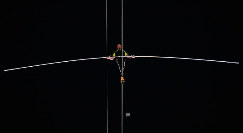 Arialist Nick Wallenda walks on a high wire across Times Square in New York
