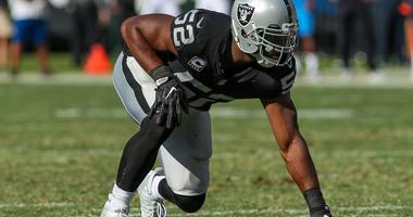 Oct 15, 2017; Oakland, CA, USA; Oakland Raiders defensive end Khalil Mack (52) during the game against the Los Angeles Chargers at Oakland Coliseum.