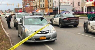 Pedestrian-involved accident on Niagara Street in Buffalo. November 27, 2019 (WBEN Photo/Brendan Keany)