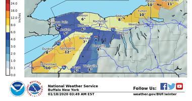 Snow totals through early Monday/NOAA Buffalo