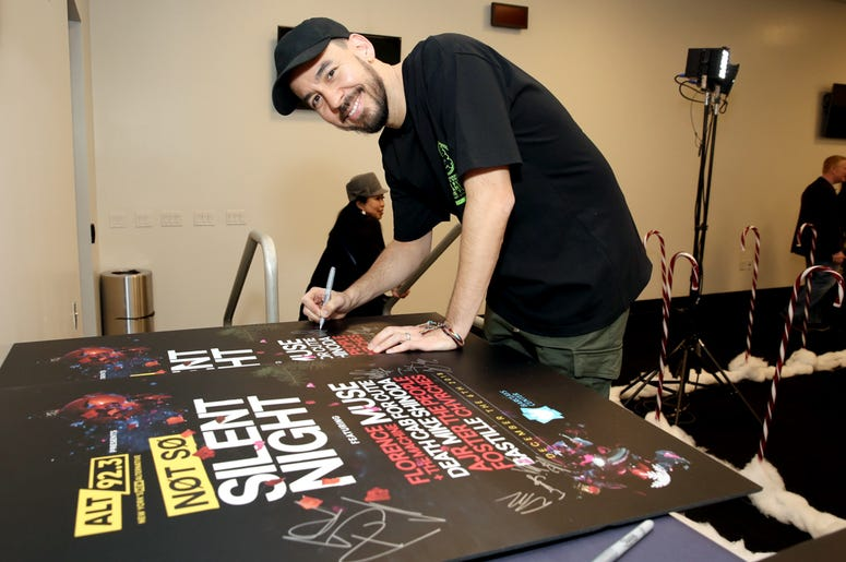 Mike Shinoda backstage at Not So Silent Night
