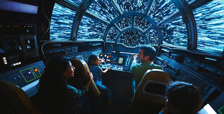 This rendering released by Disney and Lucasfilm shows people on the planned Inside Millennium Falcon: Smugglers Run attraction, part of Star Wars: Galaxy's Edge a 14-acre area set to open this summer at the Disneyland Resort.