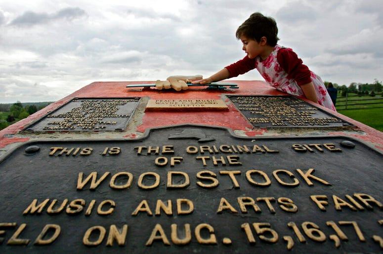 Memorial at the site of the Woodstock Music and Arts Fair in Bethel, N.Y.